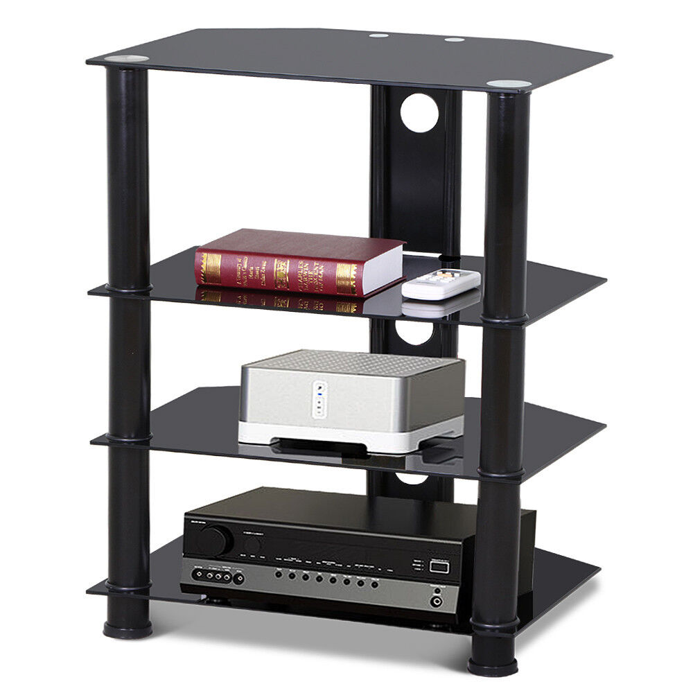 4 tier media component stand av plasma audio cabinet with glass shelf wall mount ebay. Black Bedroom Furniture Sets. Home Design Ideas