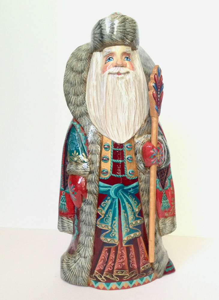 Russian santa wooden hand carved painted signed by