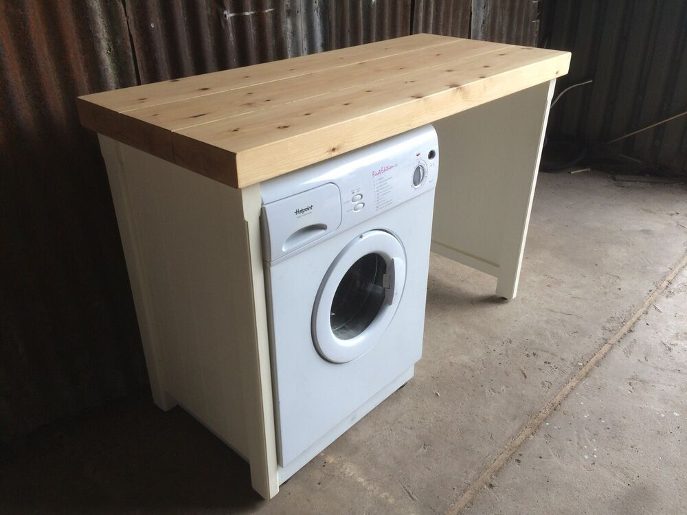 Pine double appliance tumble dryer washing machine cover for Kitchen cabinet washing machine