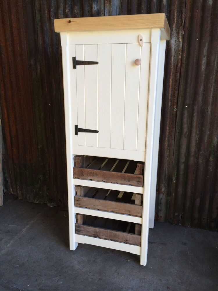 Tall Rustic Pine Freestanding Kitchen Cupboard Pantry Larder Unit Shabby Chic
