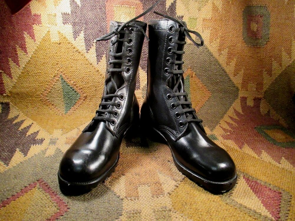 Vintage US Army Issue Black Leather Combat Boots Dated