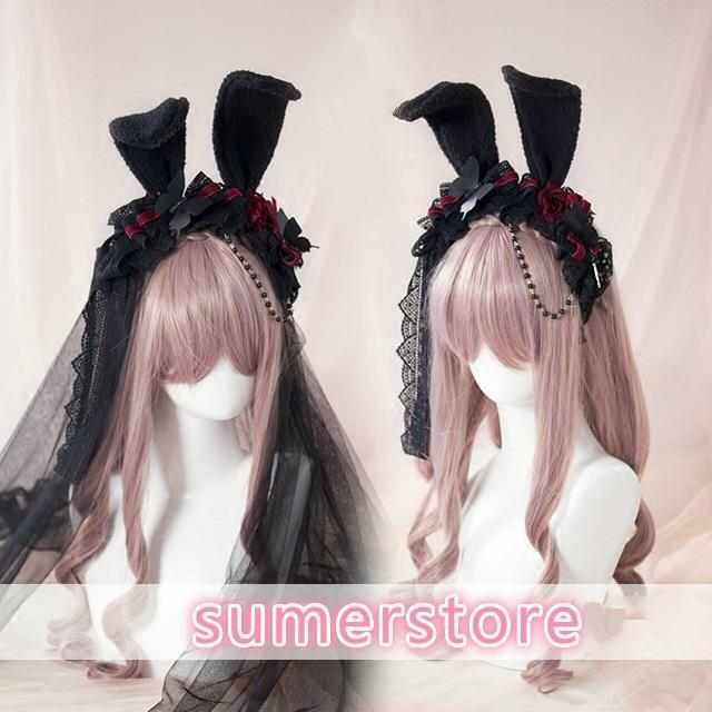 Gothic Lolita Rose Headband Rabbit Ears Lace Hair