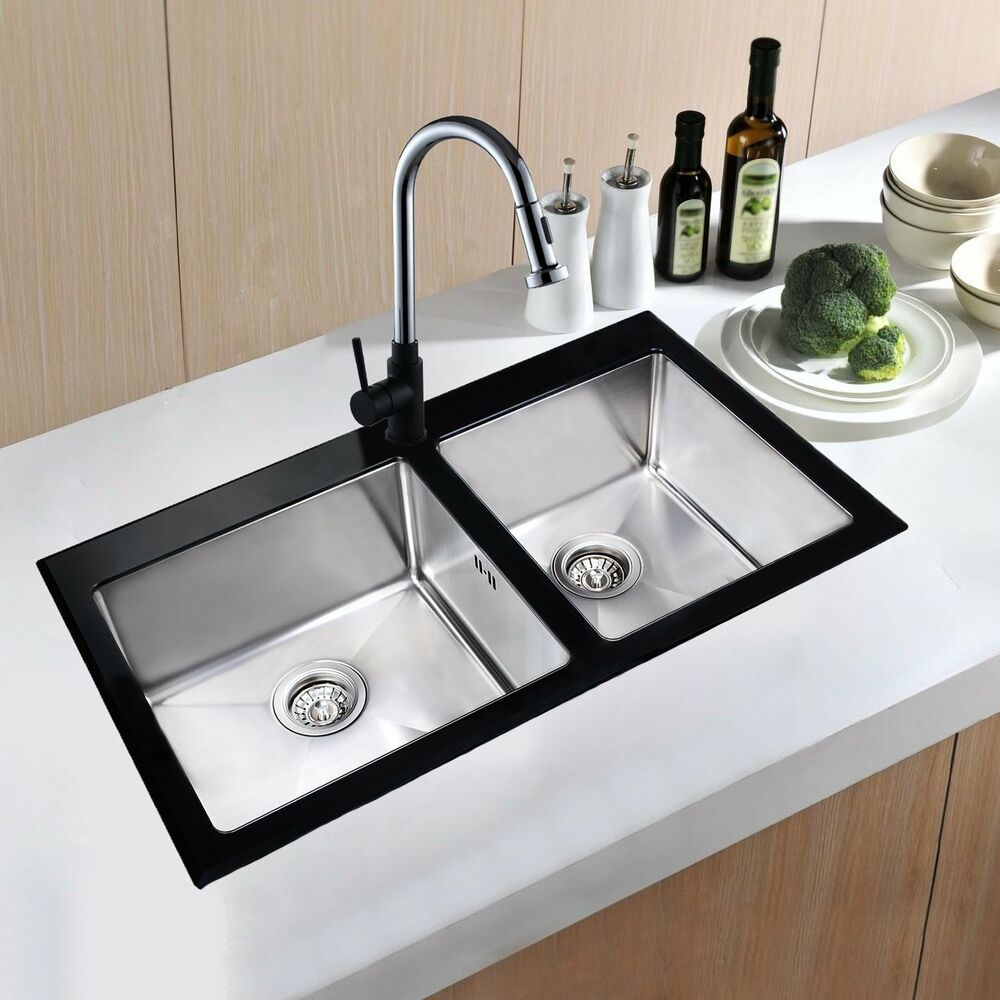 2.0 Bowl Black Glass & Stainless Steel Kitchen Sink