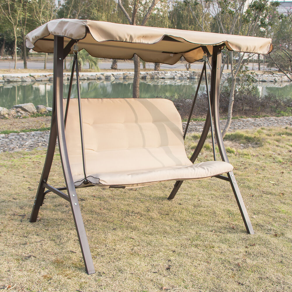 2 person canopy swing glider hammock outdoor patio furniture backyard porch new 814644022003 ebay. Black Bedroom Furniture Sets. Home Design Ideas