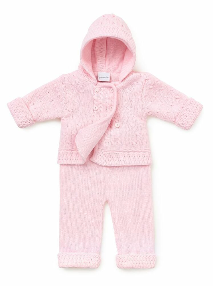 1a48e1288 Baby Boys Girls Pink Blue Double Knitted 2 Piece Trouser Jacket Pram ...