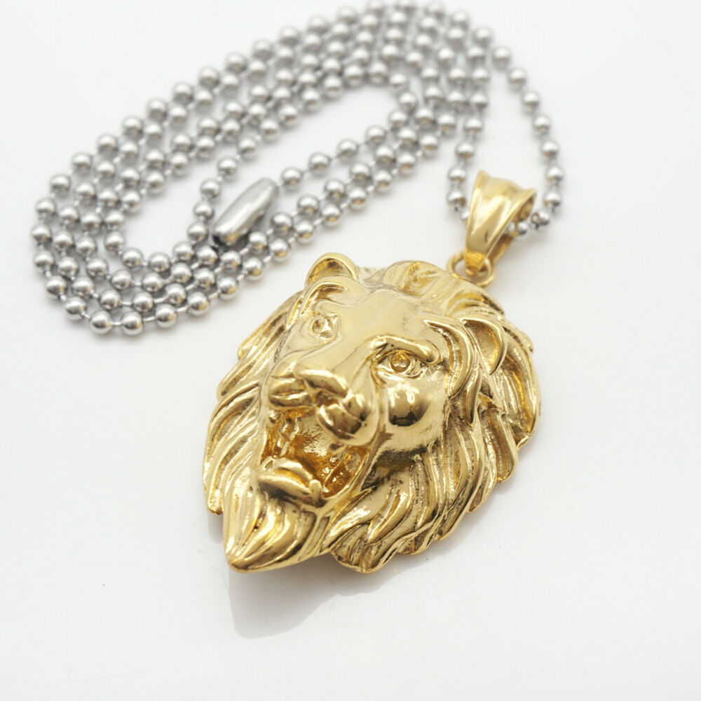 Mens fashion jewelry 18k gold plated long chain lion head pendant mens fashion jewelry 18k gold plated long chain lion head pendant necklace ebay aloadofball Choice Image
