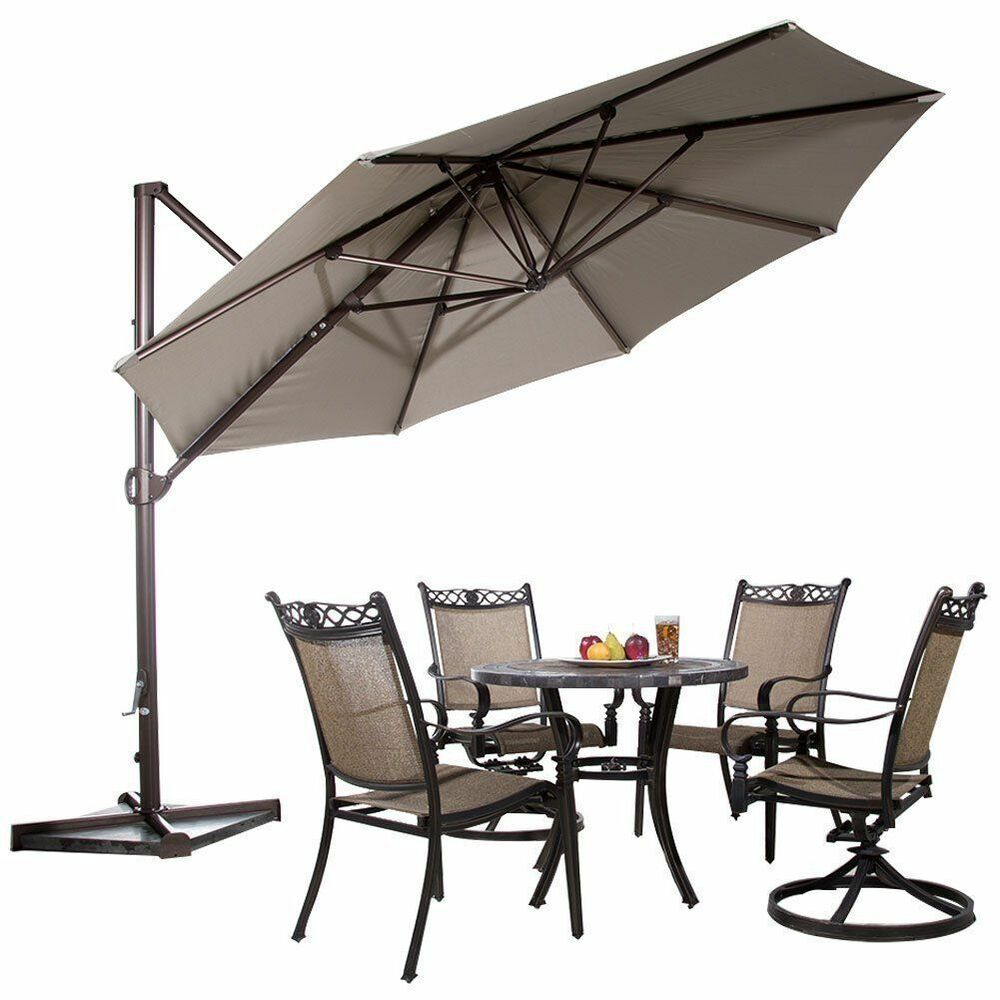 11 Ft Aluminum Offset Cantilever Umbrella Tilt Crank