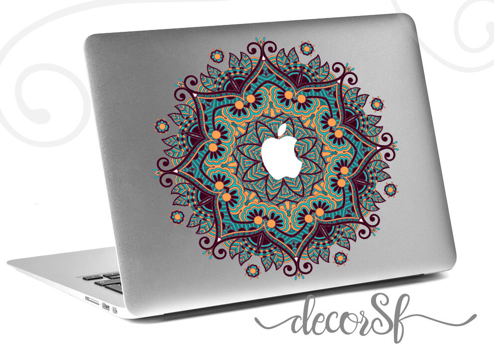 mandala flowers macbook sticker laptop stickers green. Black Bedroom Furniture Sets. Home Design Ideas