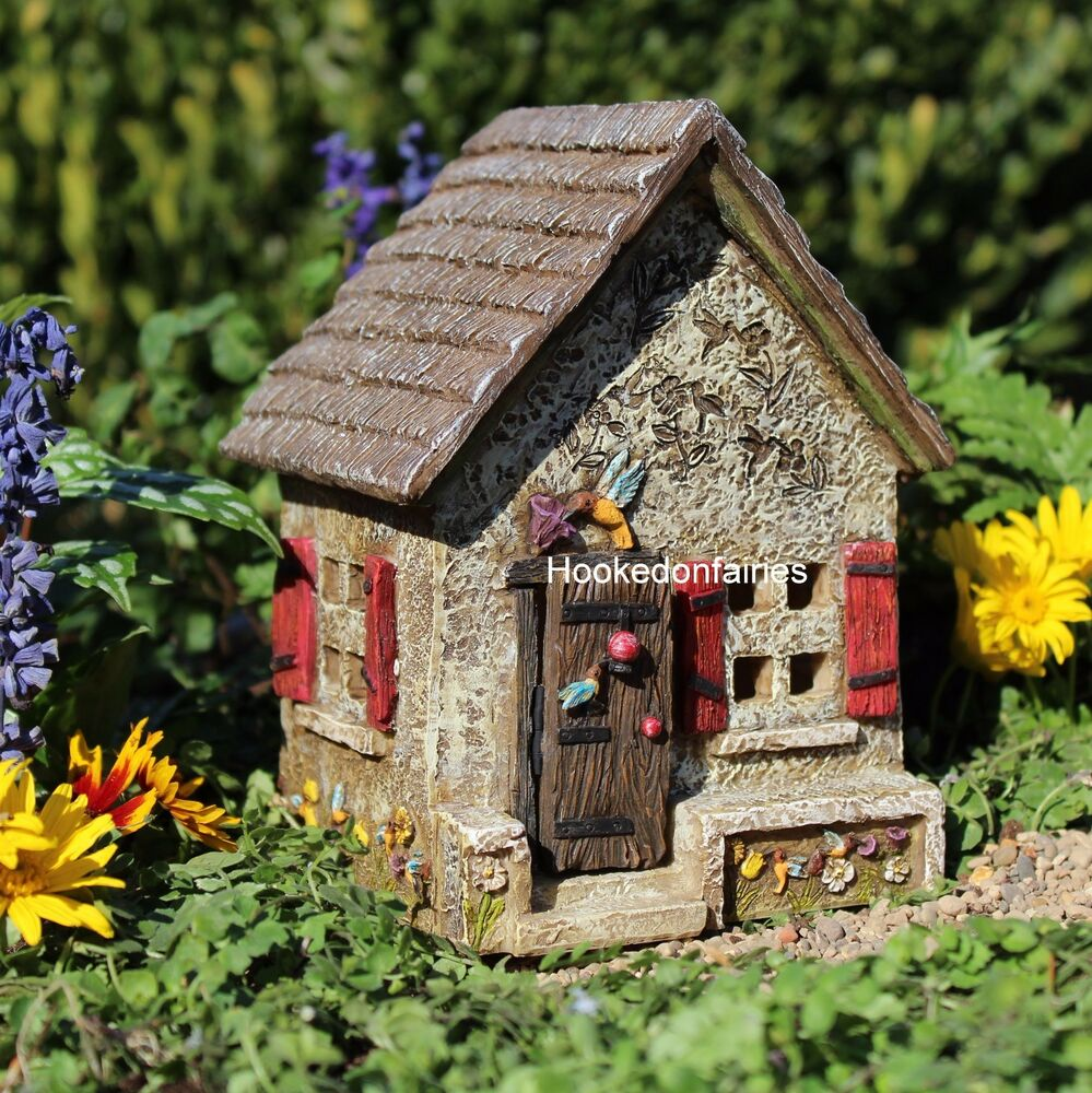 Miniature hummingbird hide away house w hinged door 0516 for Miniature fairy garden doors