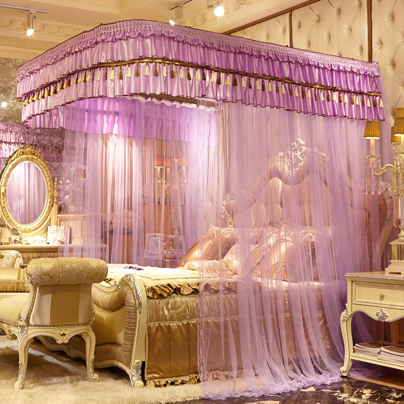 U shape frame mosquito net summer bed netting curtain - King size canopy bed with curtains ...