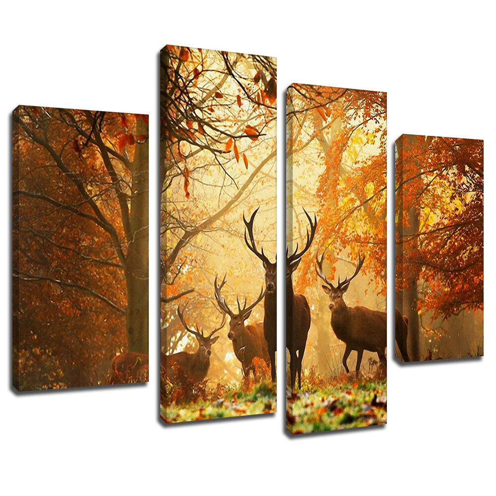 ma240 stag herd sunset autumn forest canvas wall art multi frame picture print ebay. Black Bedroom Furniture Sets. Home Design Ideas