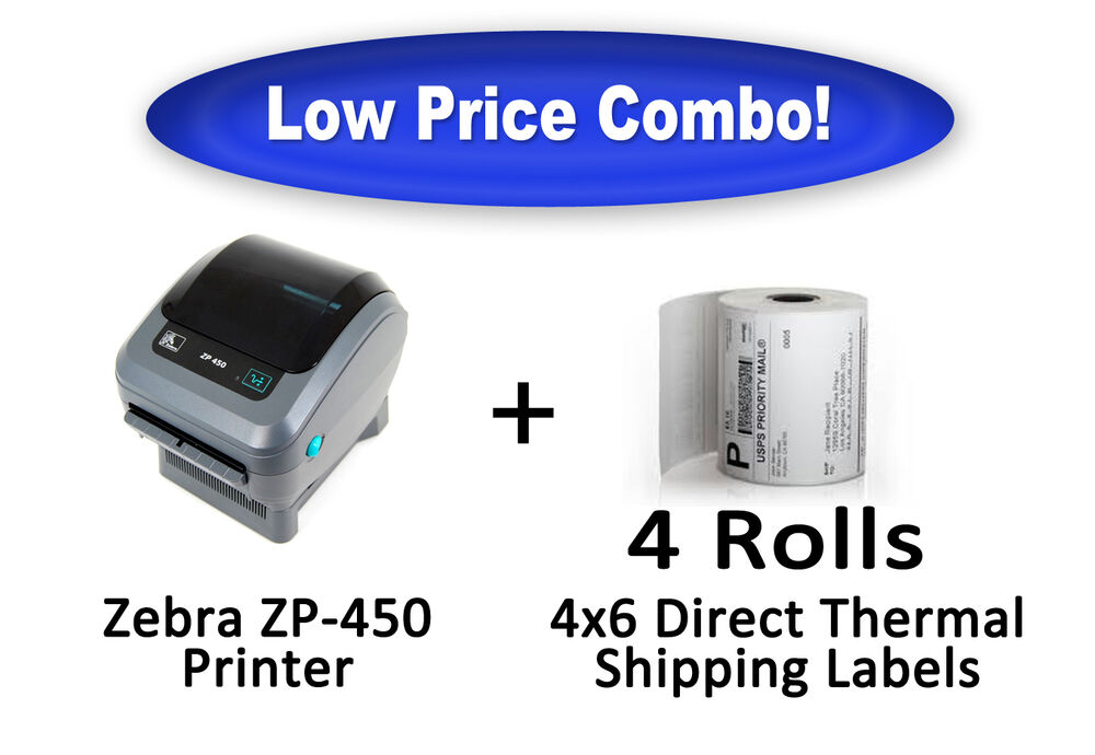 Zebra zp450 thermal label printer brand new 1000 4x6 for Dymo 4x6 label printer