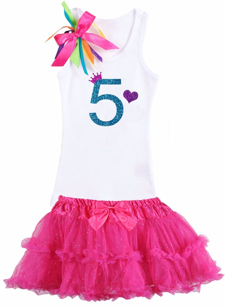5th Birthday Girls Outfit Pink Blue Tutu Outfit Customized Child Name Nwt New Ebay