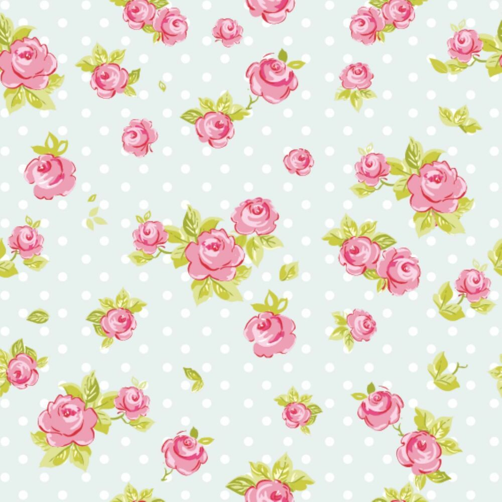 Light Blue and Pink Shabby Chic Rose Wallpaper