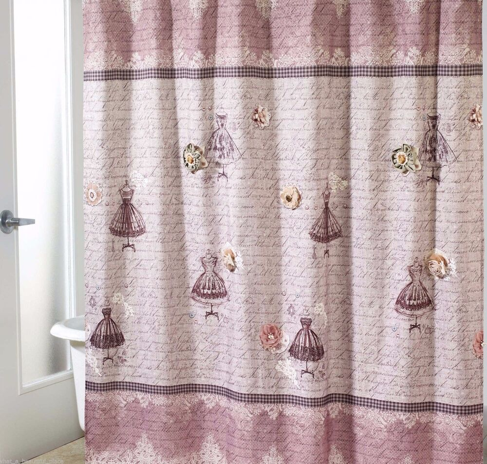 Avanti juliet shower curtain vintage french script shabby for Shabby chic rhinestone shower hooks