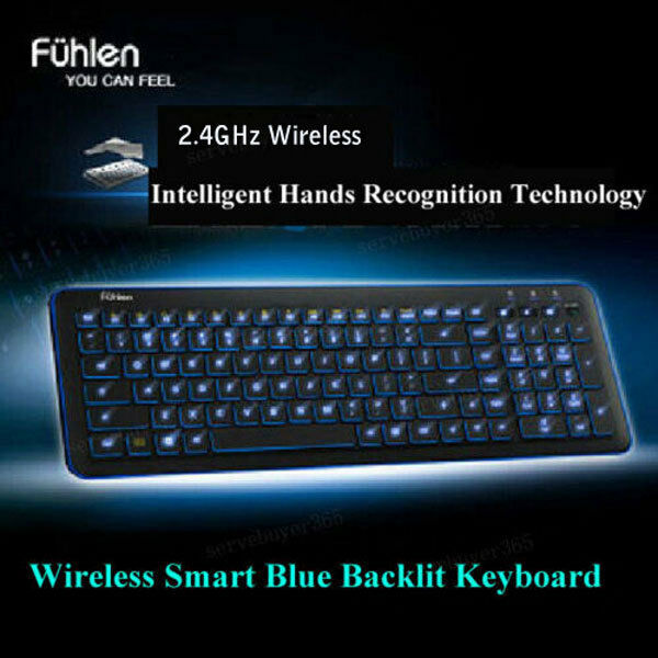 slim wireless blue led backlit intelligent multimedia keyboard usb receiver gift ebay. Black Bedroom Furniture Sets. Home Design Ideas