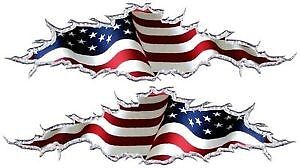 American Flag Ripped Motorcycle Go Kart Race Car Truck