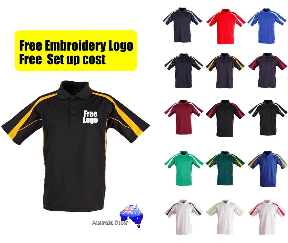 4 Shirts With Custom Embroidered Free Logo Uniforms Polo