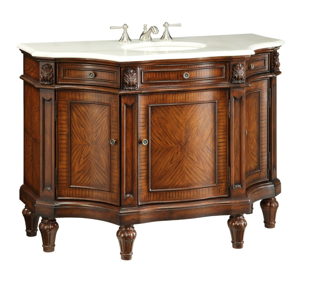 "48"" Masterful Detail White Marble Canisius Bathroom Sink Vanity Cabinet 110302W"