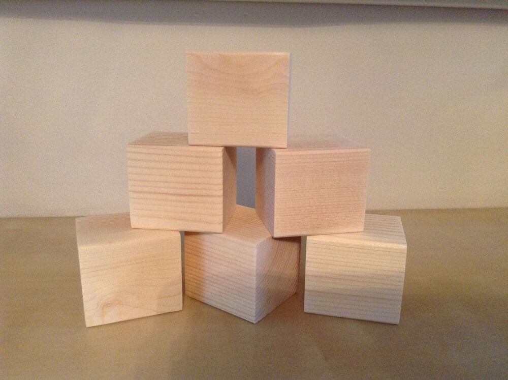 wooden blocks x 6 craft supplies pine cube craft projects