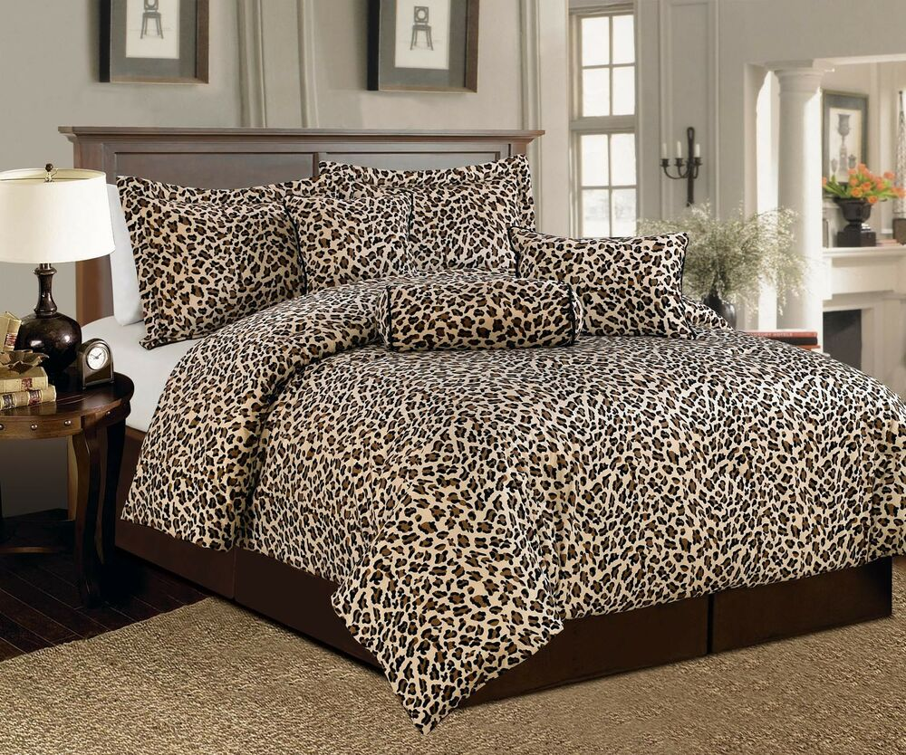 7 Pcs Leopard Print Comforter Set Micro Fur Twin Full