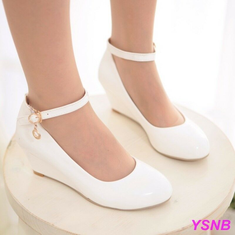 White Formal Wedge Shoes For Women