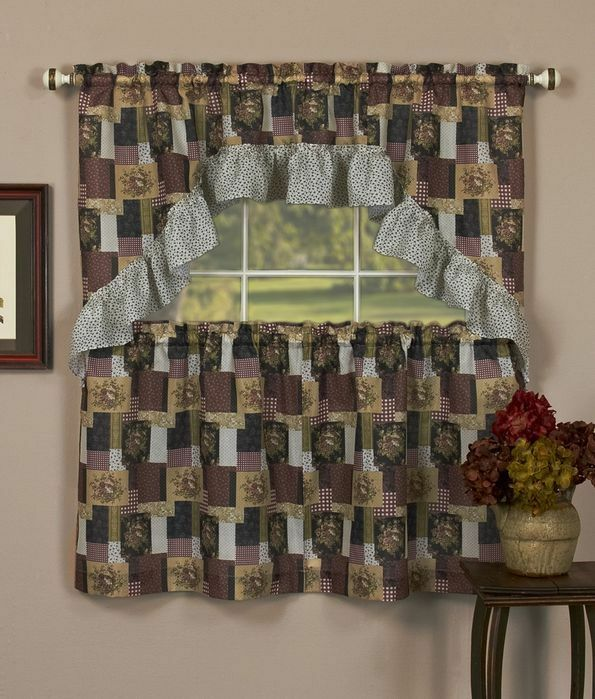 Kitchen Curtain Fruit Swag: PATCHES TIER & SWAG SET Kitchen Curtain,country Floral