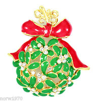 Clear Crystal Stones Gold Plated Christmas Brooch