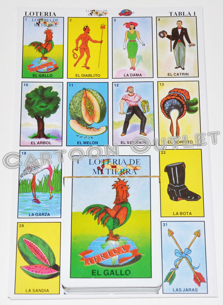 AUTHENTIC LOTERIA MEXICAN BINGO CARD GAME 10 BOARDS 54