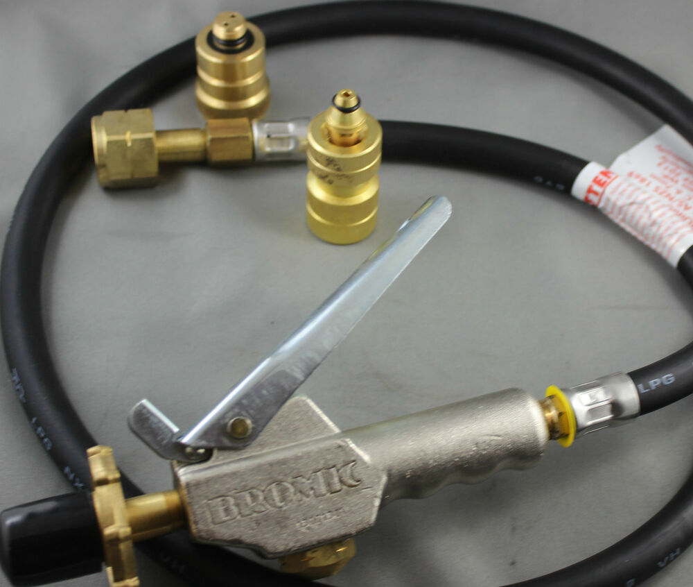 Lpg filler gun hose with automotive tank decanting