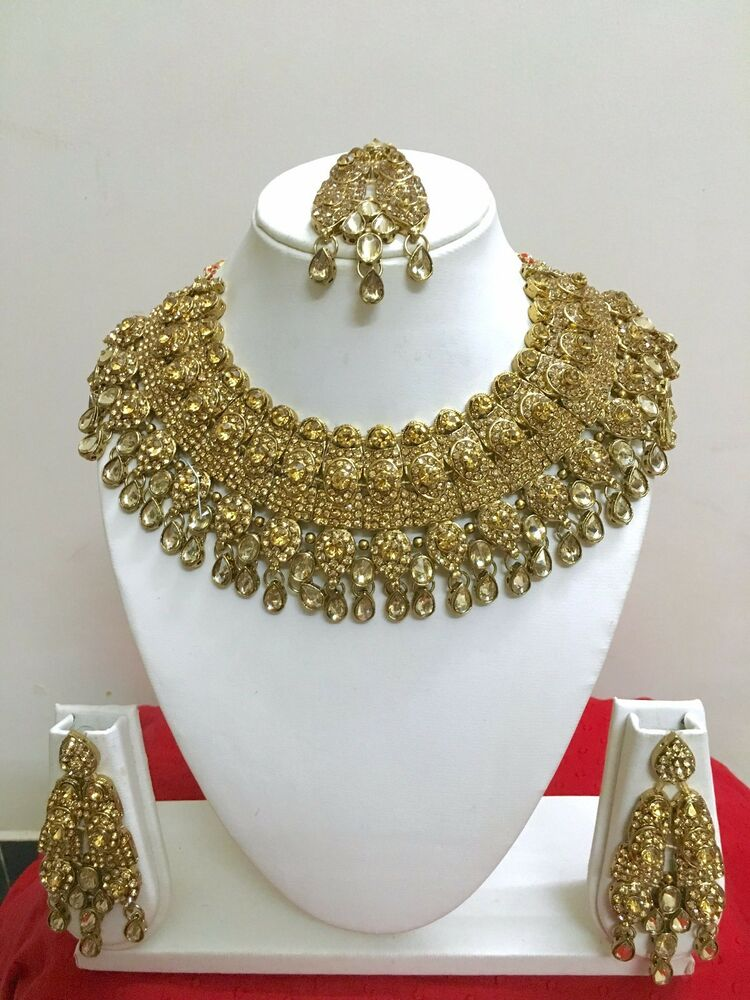 Indian bollywood style gold plated bridal fashion jewelry for Is gold plated jewelry worth anything