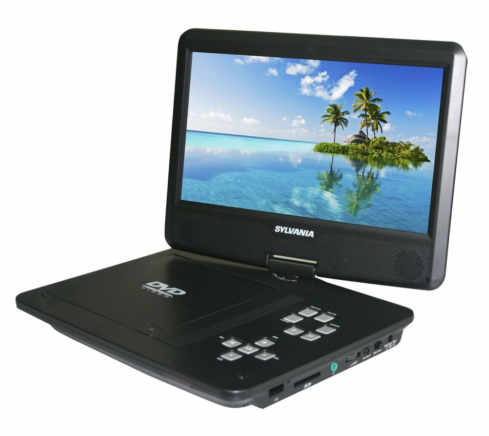 sylvania sdvd1030 10 in swivel screen portable dvd player w 5 hour battery life 58465775001 ebay. Black Bedroom Furniture Sets. Home Design Ideas
