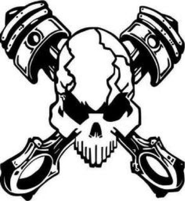 Rat Rod Skull Vinyl Decal Sticker Street Muscle Car