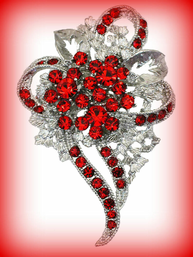 Rose red crystal rhinestone flower heart corsage brooch for Red hat bling jewelry