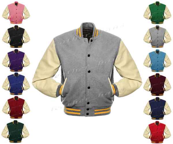Genuine Leather Sleeve Letterman College Varsity Women Wool Jack #CRSL-YSTR-BB