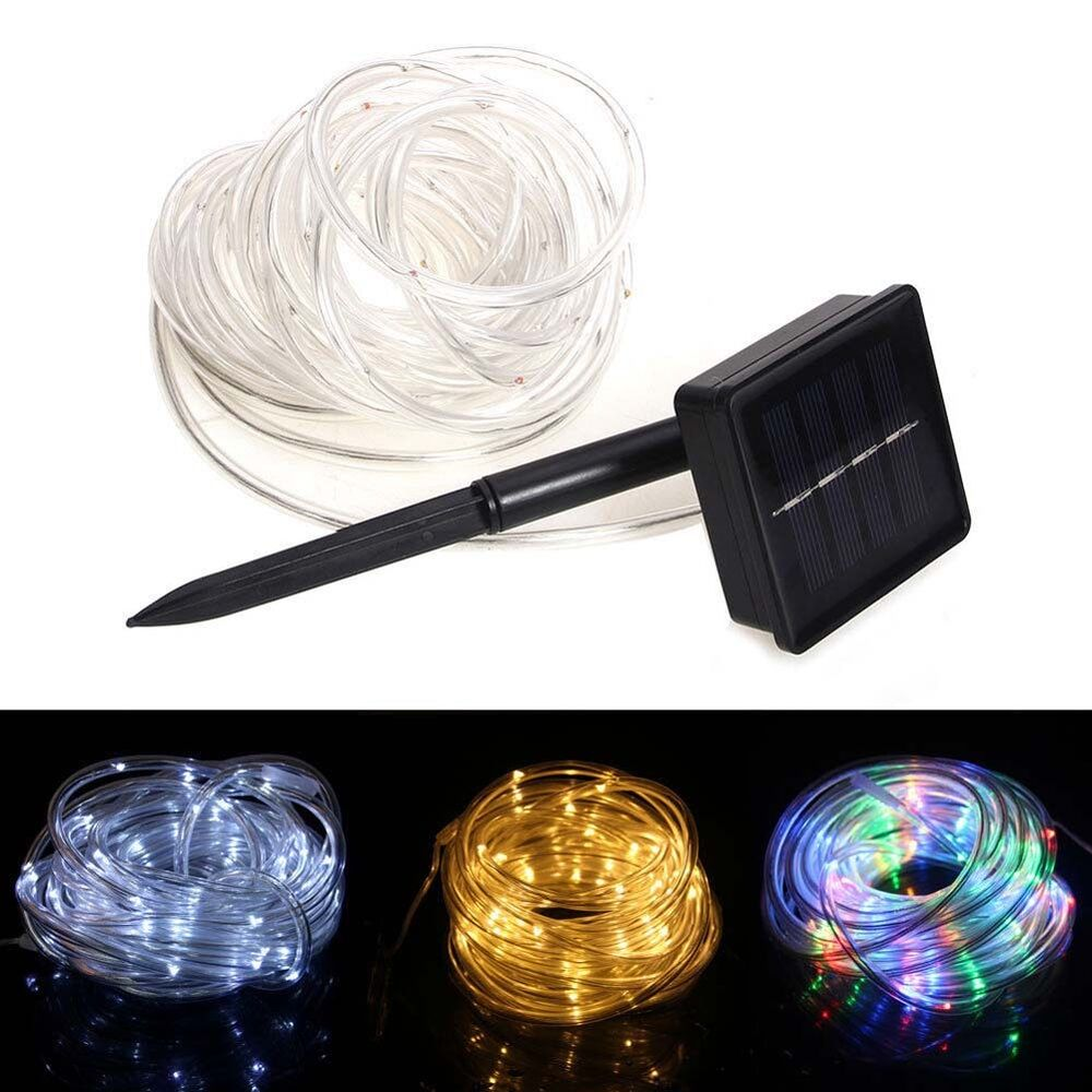 23ft 50 led solar power rope tube lights strip waterproof outdoor