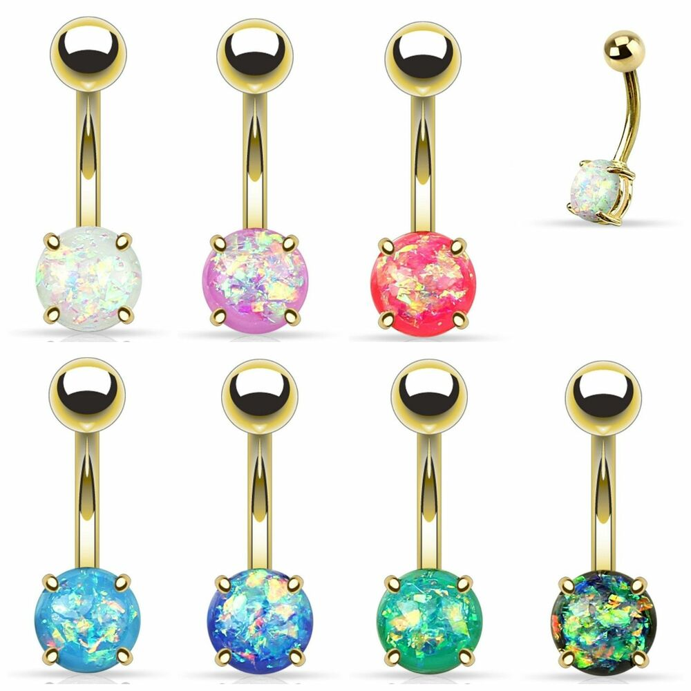 Opal Glitter Prong Set Gold Plated Over Surgical Steel ...
