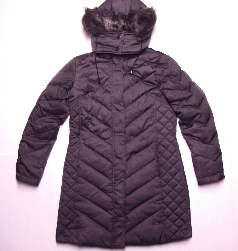 Kenneth Cole Women Hooded Chevron Quilt Down Puffer Jacket