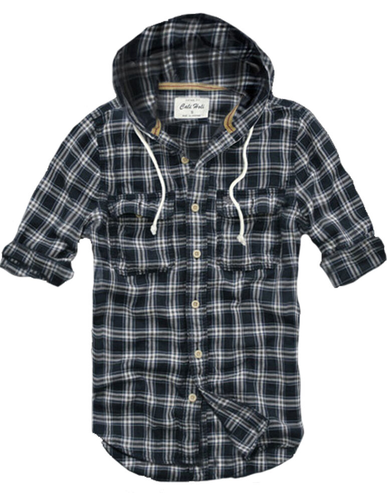 Mens fashion muscle fit hooded check flannel hoodie shirt for Men s hooded flannel shirt jacket
