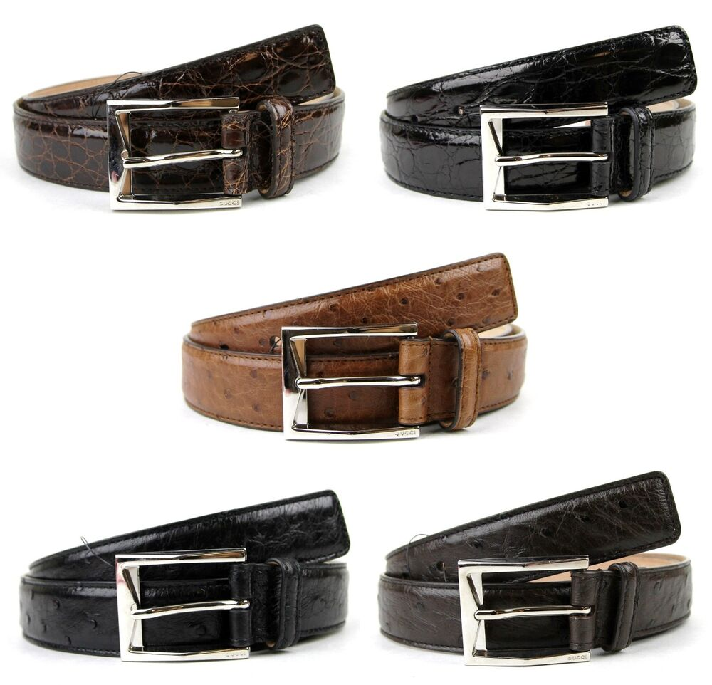 8db5ba57c32  850 NEW GUCCI Mens Crocodile Ostrich Belt with Classic Square Buckle  223901