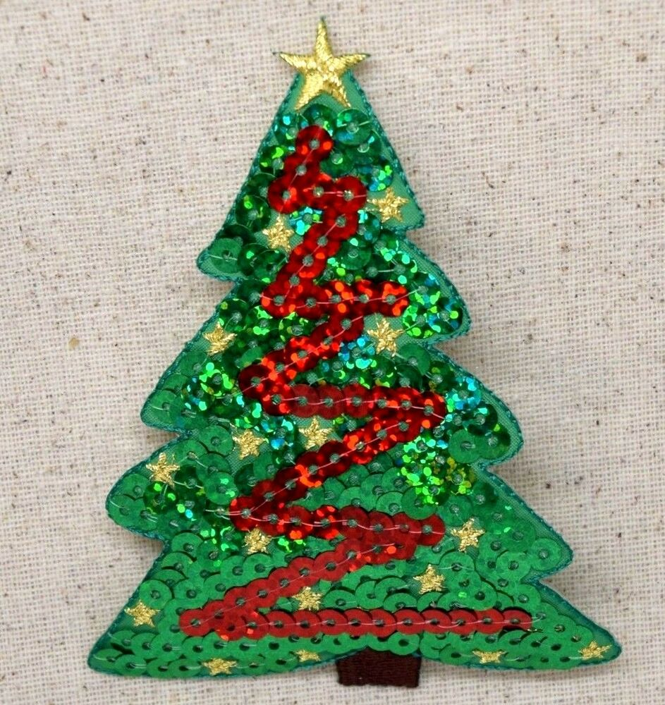 Christmas Tree Patch: Embroidered Patch Iron On Applique Green Red Sequin