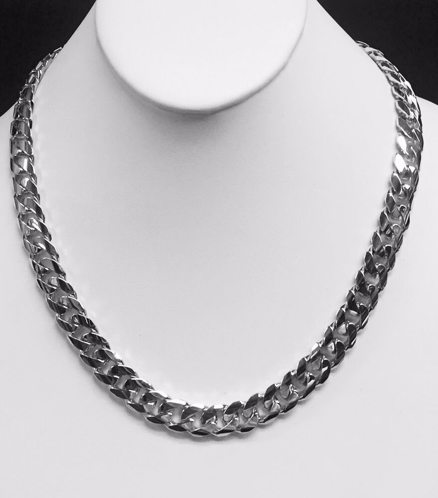 White Gold Chain Bracelet: 14k Solid White Gold Miami Cuban Curb Link Chain/Necklace