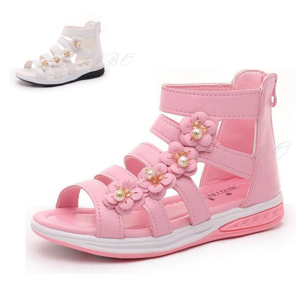 9a28b896f Details about Kids Girls Summer Princess Flower Dress Sandals Gladiator  Ankle Boot Party Shoes