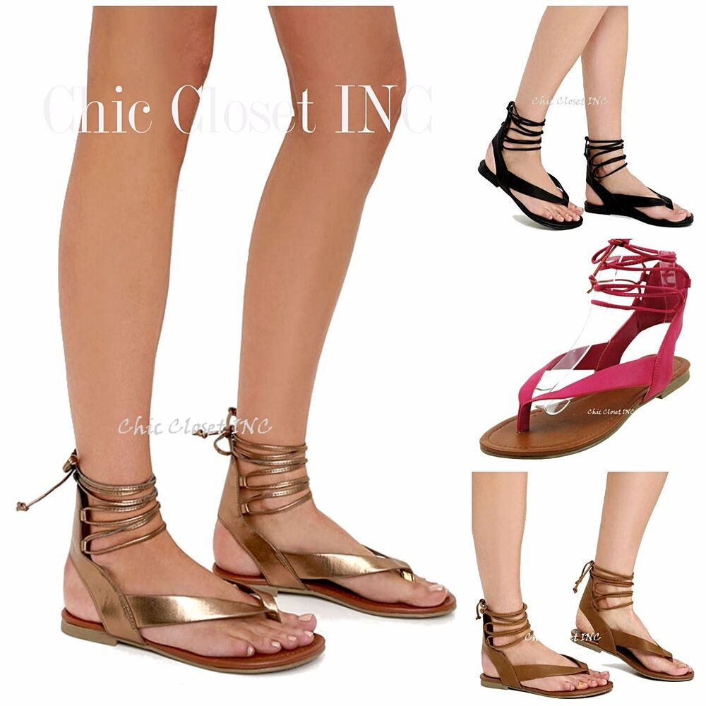Women Ankle Strap Thong Lace Up Gladiator Sandals Low Flat