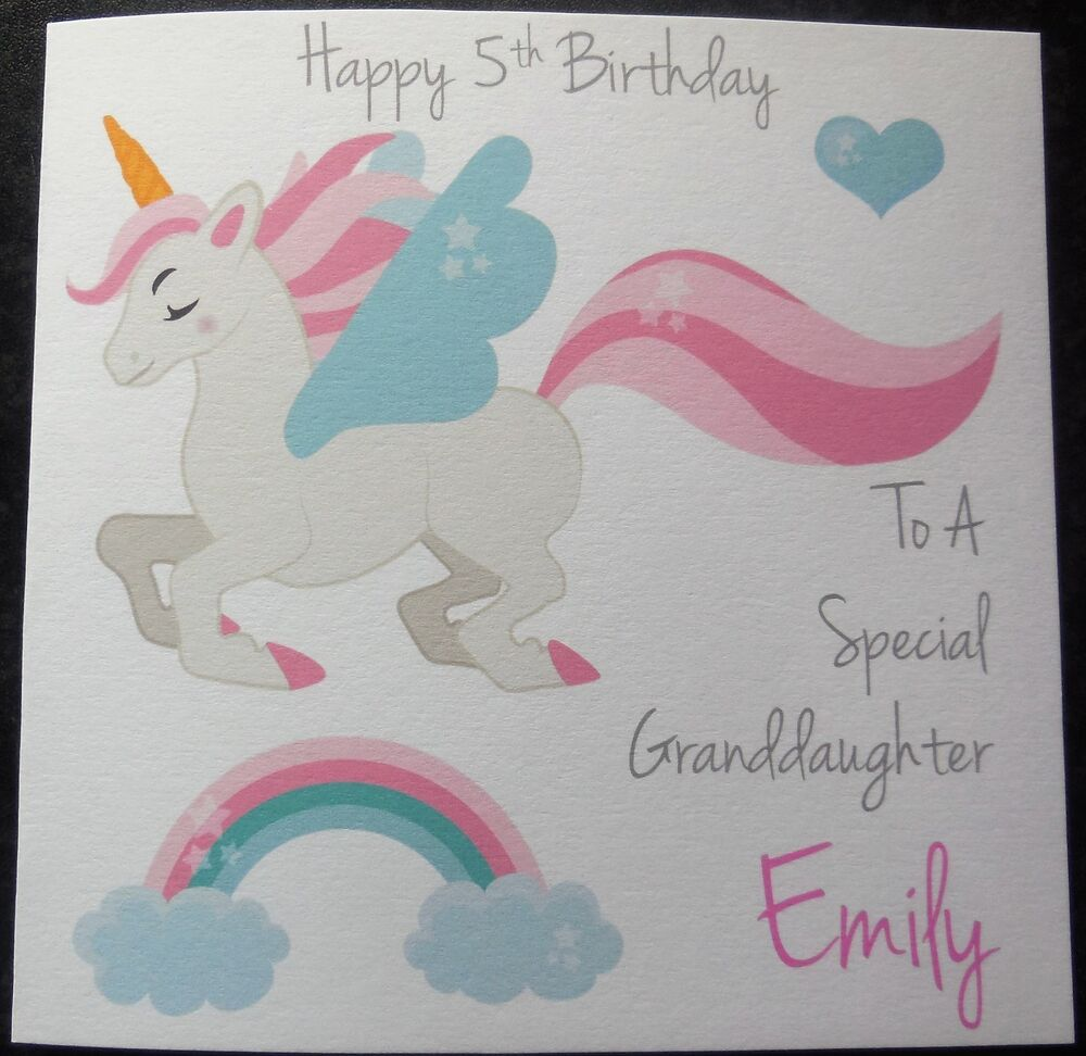 Http Www Edsfashions Co Uk Gift Ideas For Girls Age 10: Personalised Unicorn Girls Birthday Card 1st 2nd 3rd 4th