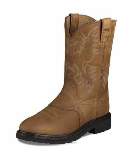 Mens Ariat Work Boot Steel Toe Sierra Saddle Aged Bark
