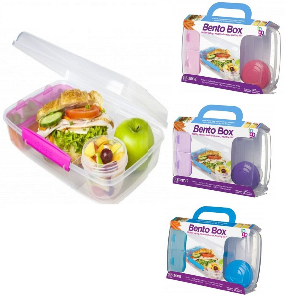 sistema bento box to go lunchbox food school storage box with yoghurt pot ebay. Black Bedroom Furniture Sets. Home Design Ideas