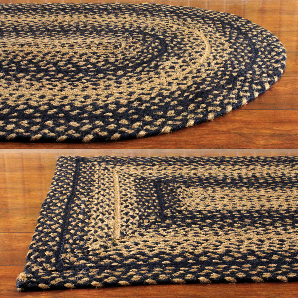 Black And Tan Rectangle Braided Area Rug Ebay