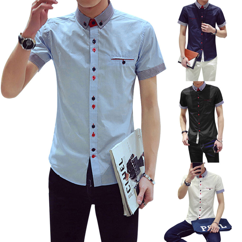 Men 39 s slim fit short sleeve casual dress shirt formal for Fitted short sleeve dress shirts