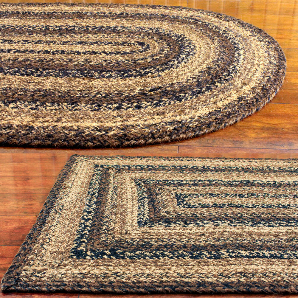 oval braided rug black brown and tan primitive country. Black Bedroom Furniture Sets. Home Design Ideas